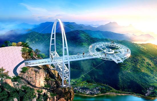 北京平谷石林峡景区钛合金飞碟玻璃观景台效果图
