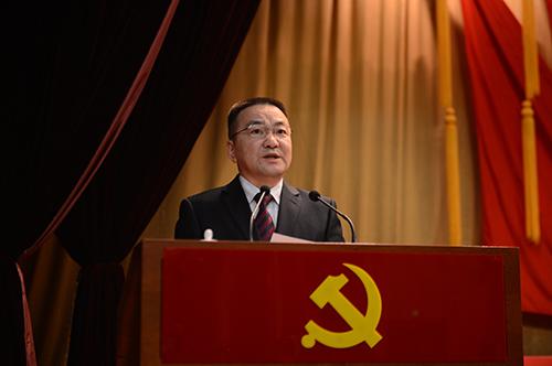 王成国同志在中共北京市平谷区第五次代表大会上作报告.马程远摄