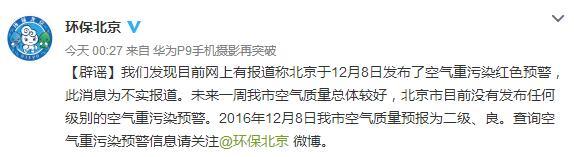 北京环保局辟谣:未发布任何级别空气重污染预警